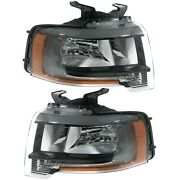 Headlight Set For 2015-2017 Ford Expedition With Complex Reflect Blacked Out 2pc