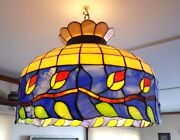 Vintage Style Multi Color Stained Glass Floral Hanging Light Lamp, 20 D