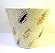 Vintage ART POTTERY FLOWER POT COLORFUL OVALS Mid Century Modern Design Italy