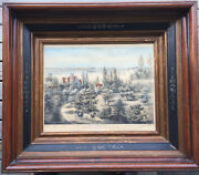 Original Currier And Ives Lithograph New York Bay 1860 Antique Victorian Frame