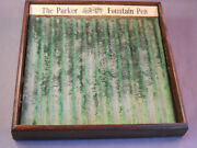Parker Vintage Small Oak Pen Tray---7-x 7--green Colored--holds 12 Pens