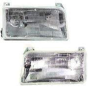 Halogen Headlight Set For 1992-1996 Ford F-150 Left And Right W/ Bulbs Pair