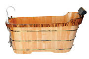 Alfi Brand Ab1148 59and039and039 Free Standing Wooden Bathtub With Tub Filler