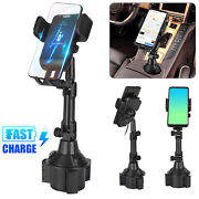 Qi Wireless Charger Car Cup Holder Fast Charging Dock Mount For Iphone Samsung