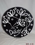 "Large 16"" Round Black & White Daisy Display Plate/Platter-Pier 1-Italy $60Retail"