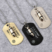 Mens Military Army Bullet Charm Dog Tags Single Embossed Chain Pendant Necklace