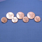 Solid 14k Yellow Gold Engraved Stag Head Blazer Buttons 7-piece Set