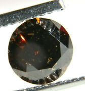 1.41cts Natural Cognac Red Color Round Shape Solitaire Diamond 6.83x6.95x4.53 Mm