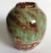Art Pottery Small Vase Green Dappled Glaze Signed With Cross Initials 1992