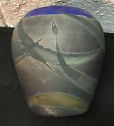 Beautiful Dream Like Raku Studio Art Pottery Vase Pot Signed 5.5""