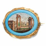 Micro Mosaic Brooch From Rome The Capitol Encased In Gold Um 1830 /