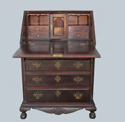 Antique Chippendale Style Slant Front Mahogany Desk Andndash 28 Inches Width