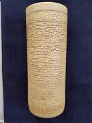 """Mid Century Modern Pottery Clay Large Tall Cylinder Vase  12"""" Gold Brown HEAVY!"""