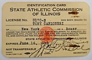Very Rare Tony Canzoneri Boxing Great 3 Time World Champion 1933 Boxing License