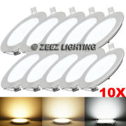 10x 6w 4 Round Cool White Led Recessed Ceiling Panel Lights Bulb Lamp Fixture