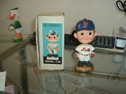 1967 Bobble Head Nodder New York Mets Gold Base With Original Box Nice
