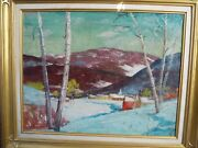 Miles Jefferson Early Oil/canvas Mountain Winter Church Steeple Red Turquoise
