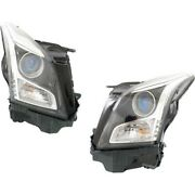 Headlight Set For 2013-2018 Cadillac Ats Left And Right With Bulb 2pc