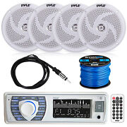Bluetooth Marine Stereo W/pyle Speaker System, Ekmr2 Antenna And Enrock Spkr Wire