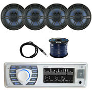 Bluetooth Marine Receiver Stereo W/enrock Coaxial Speaker, Antenna And Spkr Wire