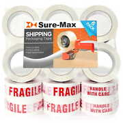 18 Rolls Fragile - Handle W/ Care Printed Tape 2x110 Yard/330and039 Ea White/red