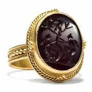 Fabulous Gems Ring Made Of Gold With Agate Intaglio Die Love Um 1870 Gem
