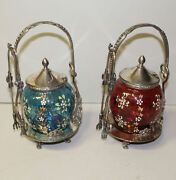 Pair Of Victorian Silver Plated Art Glass Pickle Castors 1 Cranberry 1 Blue