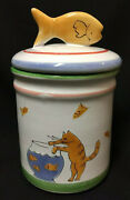 Nwt Mesa Intand039l Whimsical White Ceramic Cat Mouse Fish Treat Cookie Jar