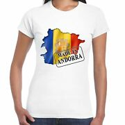Made In Andorra - Flag And Map - Ladies T Shirt - Country Gift Tee