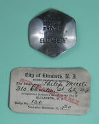 1930 Vintage Elizabeth New Jersey Taxi Badge And Vehicle Auto Driverand039s License