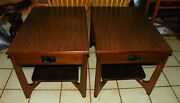 Pair Of Walnut Mid Century Formica Top End Tables / Side Tables Mersman T687
