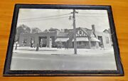 Very Rare 11x14 Gas Station 1940's Photo Shows 6 Old Gas Pumps