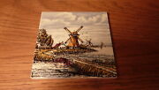 Vintage Hand-painted Multi-colored Dutch 4 1/4 Ceramic Tile - Windmill By Water