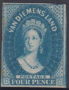 Stamp 1860 Tasmania 4d Blue Chalon Imperforated Watermark Large Star Mng Scarce