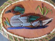 American Wigeon -drakeporcupine Quill Coiled Sweetgrass Basketp St.john-mohawk