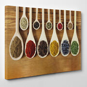 Indian Spices Large Wall Art Canvas Colour Spoons Kitchen