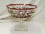 Westmoreland Waterford Diamond Thumbprint Ruby Stain Pressed Glass Compote