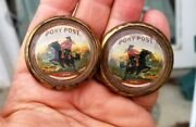 52-35 Pair Vintage Glass Domed Rosettes Pony Post Pony Express Rider On Horse
