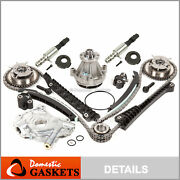 04-08 Ford Lincoln 5.4l 3v Timing Chain Kit Oilandwater Pump+cam Phasers+solenoid