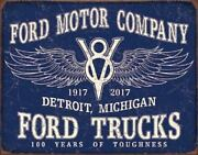 Ford Trucks - 100 Years Vintage Rustic Retro Tin Metal Sign 13 X 16in