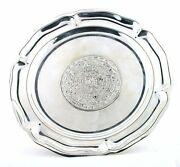 5 7/8 Inch Vintage Aztec Calendar Pure Sterling Silver Dish Plate As118