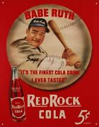 Babe Ruth/red Rock Cola Vintage Retro Tin Sign 13 X 16in