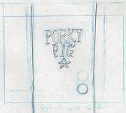 Porky Pig Looney Tunes Dressing Room Door Production Layout Drawing Warners