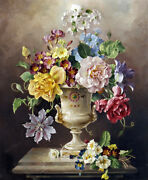 Still Life Flowers Classical Oil Painting Hd Printed On Canvas L1743