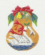 7 Swans Swimming Pear And Stitch Guide Handpaint Needlepoint Ornament Kelly Clark