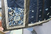 Antique Chinese Silk Embroidery Skirt Apron Robe Blue Floral Forbidden Stitch