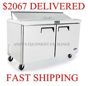 60 5 Foot Wide Sandwich/ Salad Prep Table On Wheels Nsf Stainless W/ 16 Pans