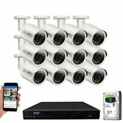 16 Channel 4k Nvr 12 5mp 1920p Poe Ip Camera Outdoor Microphone Security System