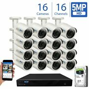 16 Channel 4k Nvr 16 5mp 1920p Poe Ip Camera Microphone Outdoor Security System