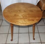 Round Mid Century Maple Birch End Table / Side Table By Ethan Allen T890